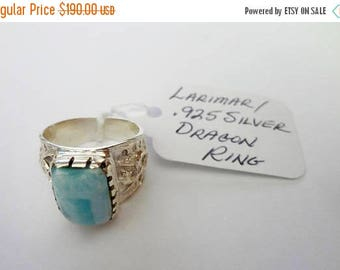 "ENDLESS SUMMER SALE Incredible Genuine Aaa Grade Larimar Men's Ring ""Kimora Dragon"" .925 Sterling Silver  Free U.S. Shipping  U.S. Size 9"