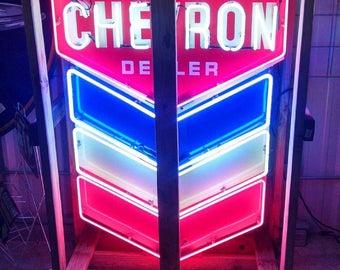Vintage 1950s Era Original Chevron Dealer Porcelain and Neon Detail Sign