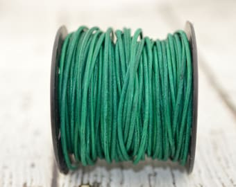 2mm Round Leather Cord, Natural Dye TURQUOISE GREEN, 2mm 12 Feet Bright Turquoise Emerald Green Cording Great Leather Wrap Cords