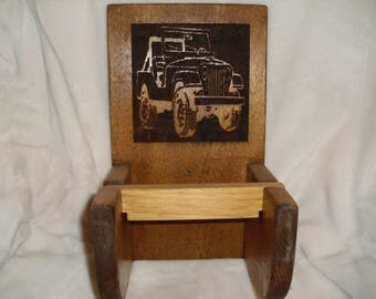 Wooden Jeep Toilet Paper Holder