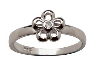 Sterling Silver Baby Ring with Daisy Flower for Girls (BR-13 Clear)