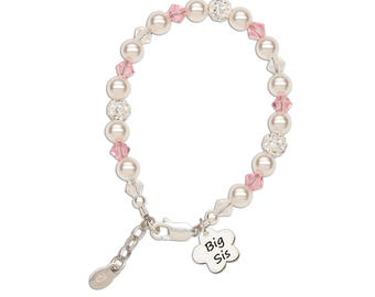 "Sterling Silver ""Big Sis"" Bracelet with Swarovski ELEMENTS Pearls and Big Sis Flower Charm with Gift Box for Big Sister (Big Sis Flower)"