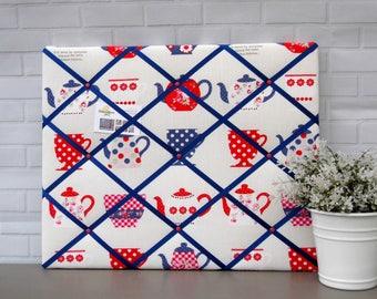 Unique Mothers Day Gift | Tea Cups Print | Memo board | notice board | Fabric | Bulletin board | 40 x 50 cm
