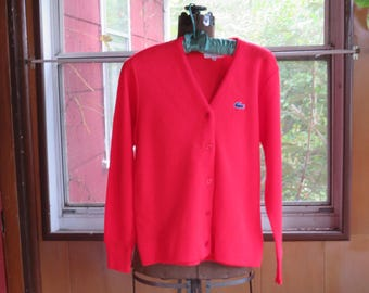 """Vintage 1960s mod red wool sweater cardigan Haymater Lacoste size 36 37"""" bust Orlon acrylic Made in U.S.A. (62417)"""