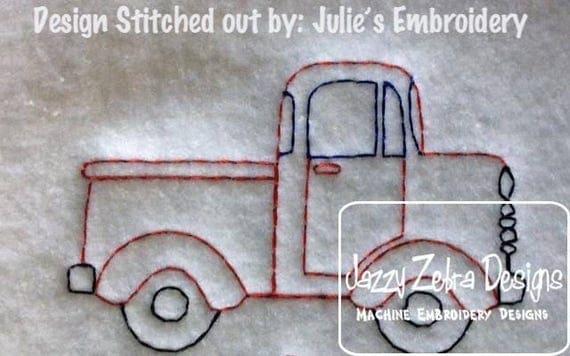 Truck color work embroidery design - pick up truck embroidery design - truck embroidery design - boy embroidery design - transportation