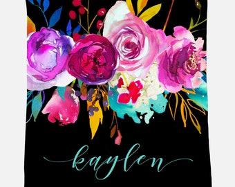 Monogrammed Blanket | Bright Floral | Personalized Blanket | Monogrammed Gift