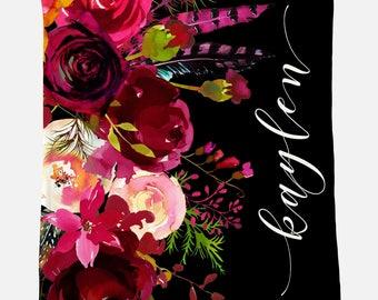 Monogrammed Blanket | BurgundyFloral | Personalized Blanket | Monogrammed Gift
