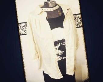 1960's Tan Rockabilly Speak Easy Blouse, Size Large / XL, 1X Vintage Pin Up Tan Women's Shirt, 1950's Tan Grunge Button Up Blouse, 60s Punk