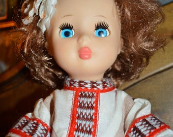 Vintage doll USSR. Old doll from Soviet Union.Lovely blue eye. Collectible doll.