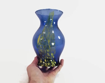 Blue and Yellow Speckled Glass Vase Colorful Flower Decor