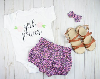 Girl Power Bodysuit - Baby Clothes - Baby Girl Outfits - Floral Bloomers - Coming Home Outfit - Toddler Girl Outfits - Toddler Girl Clothes