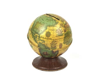 Vintage Globe Bank World Globe Piggy Bank Vintage 1950s Small Globe Savings Bank The Ohio Art Company Savings Globe Bank