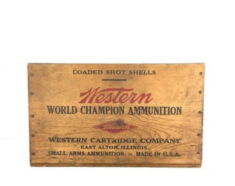 Vintage Wood Crate Vintage Ammo Crate Old Wood Amunition Box 1940s Wood Ammo Crate Western Cartridge Co Illinois Small Wood Rustic Crate