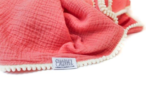 CORAL / SALMON Swaddle Blanket /Cream Pom Swaddle Blanket /Gauze Blanket / Blanket / Blanket / Newborn Blanket / Newborn Baby Blanket