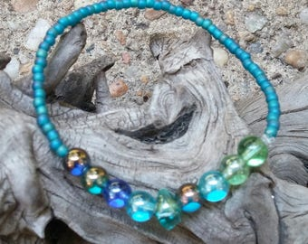 Sea glass Colors Beaded Bracelet, gift, woman, girl