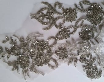 1 coupon lace fabric embroidered beaded fashion color silver