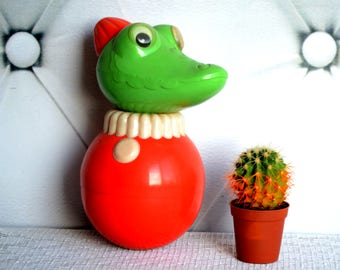 Crocodile Ding Doll, Roly Poly Doll, Nevalyashka,  音乐的玩具圆滚滚, soviet plastic doll, Baby shower gift, nursery decor, chime toy