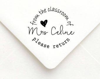 Custom Teacher Stamp, Teacher Rubber Stamp, Teacher Gift Stamp, Personalized Name Teacher Stamp, From the classroom of stamp B20