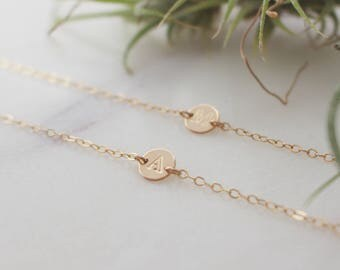 Gold Tiny Initial Disc Bracelet - 14k Gold Filled, 6.4mm Tiny Disc, 3mm Uppercase Initial