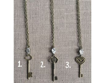 Rhinestone Key Necklace