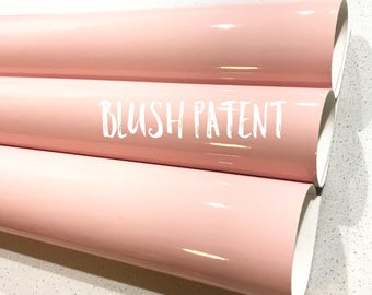 NEW Blush Patent Leather A4 Sheet Glossy Smooth PU Leatherette Pastel Blush Pink Patent