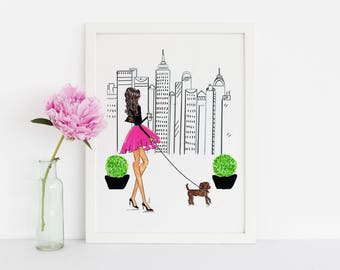 NYC and Poodle - Fashion Illustration Print - Fashion Print - Art - NYC Art - Fashion Art