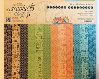 """Graphic 45 """"Vintage Hollywood"""" 12"""" x 12"""" Patterns & Solids"""