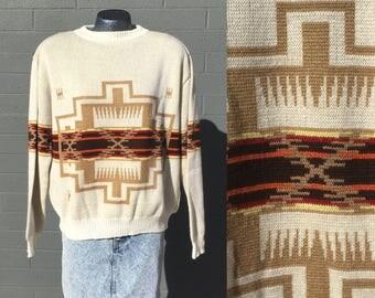 Large Men's Native American Southwestern Sweater Pendleton Style Cream Off white Brown Red Orange