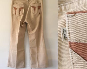 Vintage Levi's Tan High Waisted  Bell bottoms Pants with patchwork pockets 35 x 29 high rise bootcut