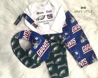 Custom House Divided Football  (New York Giants - Philadelphia Eagles) I Cheer For Both Teams and Pants or Shorts, Bib, Paci Clip 4pc Set
