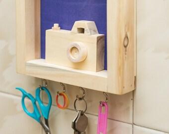 IVEI wood and Khadi combination camera key holder