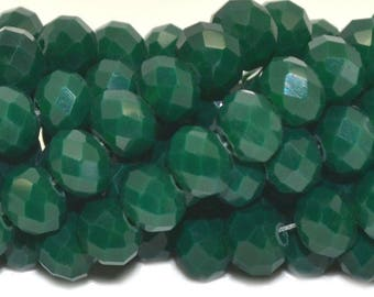 50 green 6x4mm faceted abacus beads