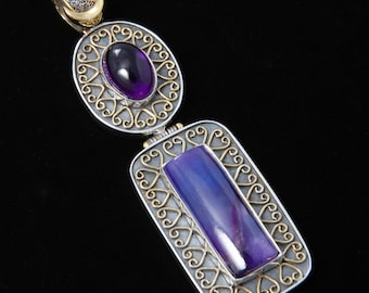 Sugilite 4 - Pendant - Sterling Silver and 24K Gold plating - Sugilite and Amethyst