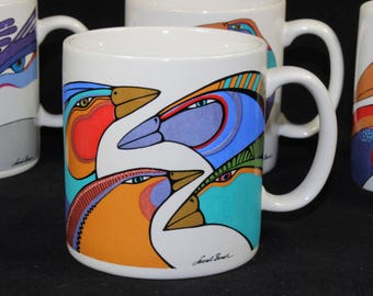 Set of 4 Official Laurel Burch Exotic Tropical Bird Mugs Coffee Cup