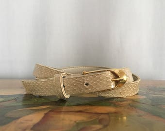 Cream Skinny Belt Gold Buckle Vintage Women's XS or Small