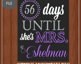Purple and Silver Wedding Countdown Sign - Bridal Shower Sign - Bridal Shower Countdown - Wedding Shower Decor - Countdown - Days Until