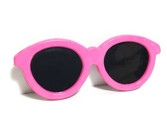 Large 1980s Pink Sunglasses Brooch Vintage Plastic Shades Pin
