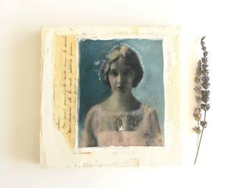 Original encaustic collage , 8x8, ready to hang art, encaustic art, vintage photo print, embroidered art, shabby chic, Lillian Gish