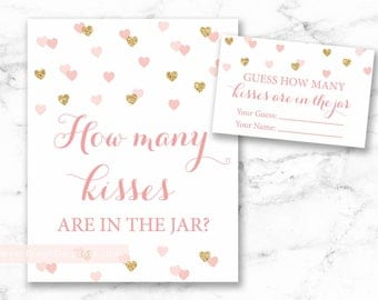 Guess How Many Kisses in the Jar Printable Sign and Cards, Rose Gold Confetti, Heart confetti, gold blush shower, DIY, INSTANT DOWNLOAD, 015