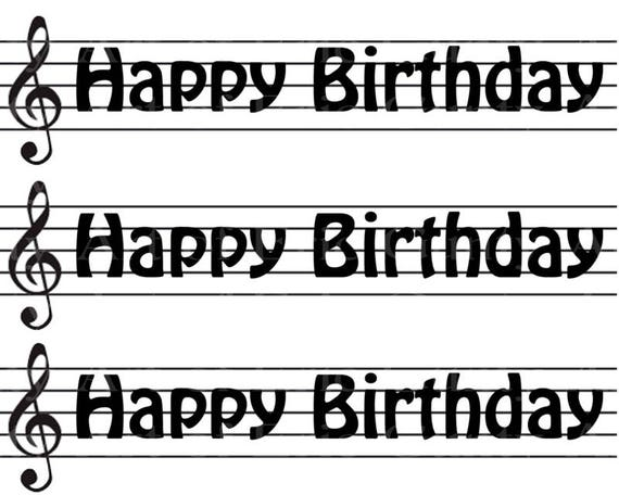 Birthday Music Band Notes - Birthday Background - Designer Strips - Edible Cake Side Toppers- Decorate The Sides of Your Cake! - D22680