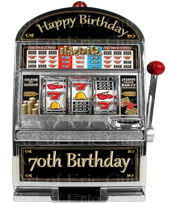 Las Vegas Happy 70th Birthday Slot Machine - Edible Cake and Cupcake Topper For Birthday's and Parties! - D22768