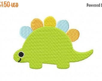 50% OFF - 4X4 Green Stegosaurus Machine Embroidery Design Multiple Formats Available - Instant Download