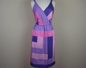 Vintage 1970s lavender dress - geometric dress pink purple - polyester day dress 6 70s seventies