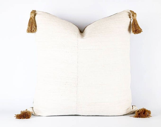 Antique French Linen And Jute Tassel Pillow Cover 20x20