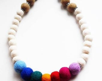 Beige Rainbow felt pearl necklace, multicolor white, rainbow Peace Jewel felt soft medium length clasp closure