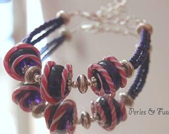 Handmade Lampwork Glass bracelet * cherry * purple/pink/white - candy - glass Lampwork