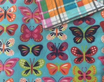 Butterfly/Plaid Flannel Baby Blanket