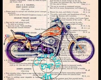 Yellow with Red Flames DYNA Wide-Glide Art - Vintage Dictionary Book Page Art Upcycled Page Art Drawing