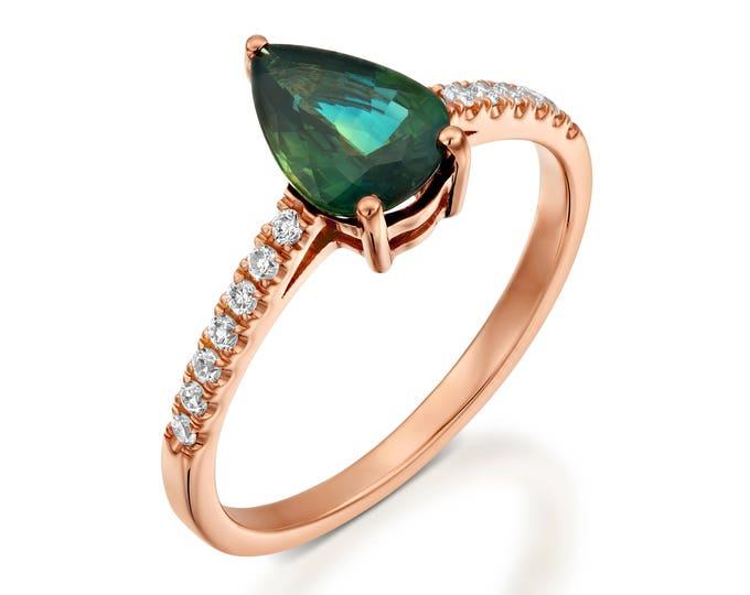 Green Sapphire Diamond Engagement Ring -Yellow Gold Ring-Sapphire Engagement Ring -Anniversary present-Promised ring-Green Sapphire ring