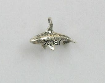Sterling Silver 3-D Orca Whale Charm
